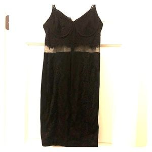 Express Black Dress- mesh midsection and lace